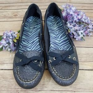 Sperry Top Sider 8.5 Blue Glitter Flats Loafers